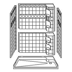 "5LDS6034B17T Best Bath 60"" x 34"" Barrier Free Diamond Tile Shower with Caddy and Beveled 1.75"" Threshold"