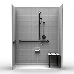 ada roll in shower trench drain bestbath 63 x 33