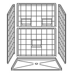 "5LES6036B75B Best Bath 60"" x 36"" Fiberglass Barrier Free Shower with Beveled Threshold and Wall Shelves"