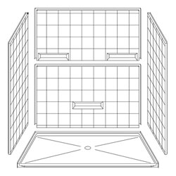 "5LES7248B1B Best Bath 72"" x 48"" Barrier Free 8"" Tile Shower with Beveled Entry and Shelves"