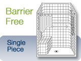 Barrier-Free Single Piece Shower Units