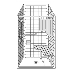 "Best Bath one piece 40"" x 38"" ADA walk in shower for senior living facilities"