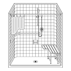 Best Bath 63 x 33 Roll-In ADA Compliant Shower with Low Entry for Handicapped Bathroom construction