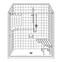 "63"" x 33"" One Piece ADA Shower with Beveled Entry Mini-Thumbnail"