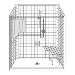 "One piece 63"" x 37"" ADA compliant fiberglass roll-in shower with beveled threshold for wheelchair access."