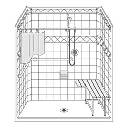 Best Bath 63 x 37 ada compliant fiberglass shower surround with tile accent and beveled threshold