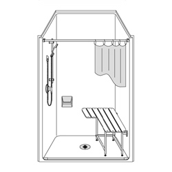 "One piece 42x38 ADA compliant transfer shower with smooth wall finish, 1/2"" threshold and center drain by Best Bath"