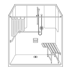 "One piece fiberglass 63 x 37 ADA shower with smooth wall finish, 1-1/4"" threshold and rear drain by Best Bath."