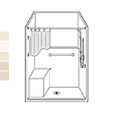"48"" x 36"" Barrier Free LSSS4836B5T Fiberglass shower with Bench Seat"