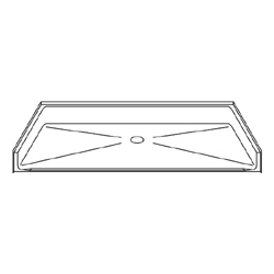 "P6034B75B Best Bath Systems 60"" x 34"" Barrier Free Beveled Shower Pan with Center Drain"