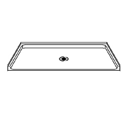 "Best Bath Systems 63"" x 37"" ADA Compliant Shower Pan with Low Beveled Entry and Center Drain"