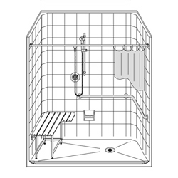 "63"" x 37"" extra tall one piece ADA compliant roll-in shower for handicapped accessibility by Best Bath."