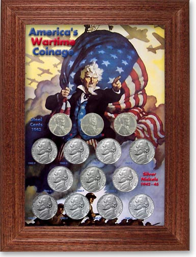 Wartime Coinage Jefferson Nickel Collector Frame LARGE