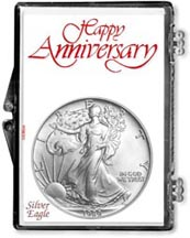 1989 Happy Anniversary American Silver Eagle Gift Display THUMBNAIL