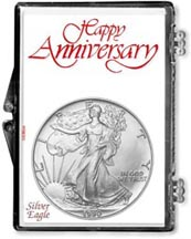 1990 Happy Anniversary American Silver Eagle Gift Display THUMBNAIL