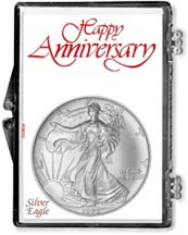 1993 Happy Anniversary American Silver Eagle Gift Display THUMBNAIL