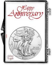 2000 Happy Anniversary American Silver Eagle Gift Display THUMBNAIL