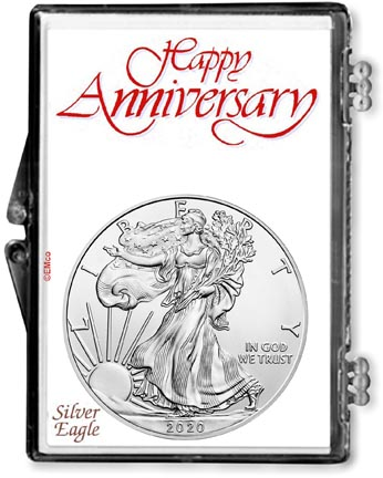 Happy Anniversary American Silver Eagle Gift Display LARGE