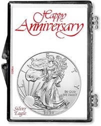 Happy Anniversary American Silver Eagle Gift Display THUMBNAIL