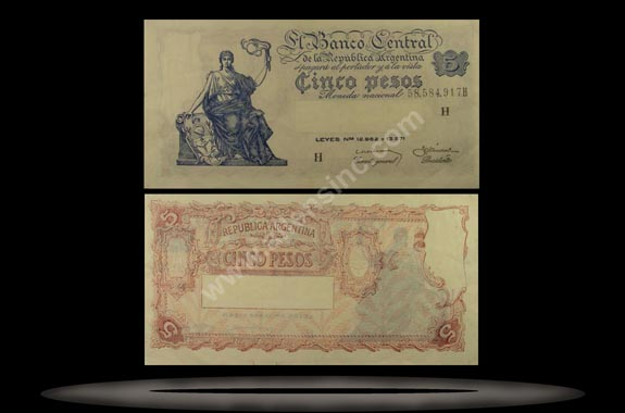 Argentina Banknote, 5 Pesos, ND (1951), P#264d