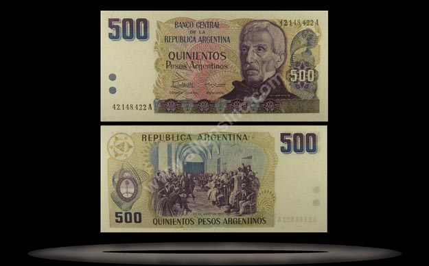 Argentina Banknote, 500 Pesos Argentinos, ND (1984), P#316a