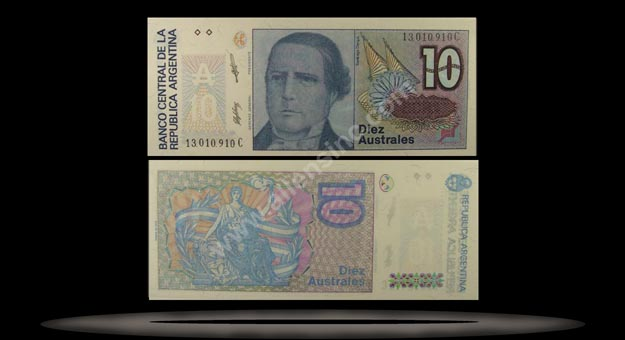 Argentina Banknote, 10 Australes, ND (1986), P#325b