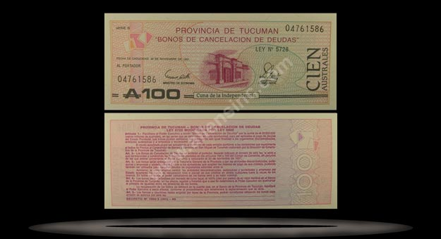 Province Of Tucuman, Argentina Banknote, 100 Australs, P#2715