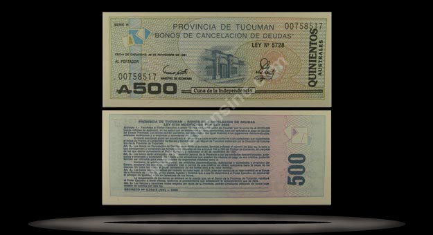 Province Of Tucuman, Argentina Banknote, 500 Australs, P#2716