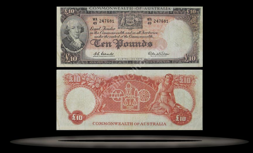 Australia Banknote, 10 Pounds, ND (1960-65), P#36a