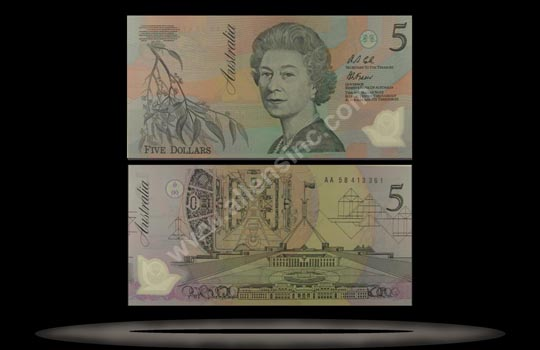 Australia Banknote, 5 Dollars, ND (1992-93), P#50a