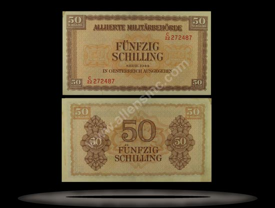 Allied Military Authority, Austria Banknote, 50 Schilling, 1944, P#109