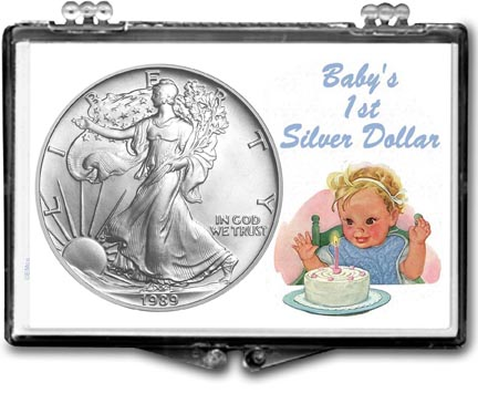 1989 Baby's First Silver Dollar, American Silver Eagle Gift Display LARGE