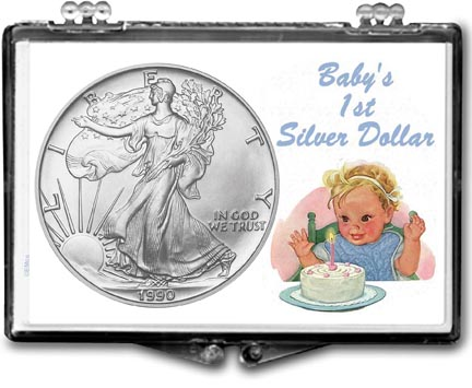 1990 Baby's First Silver Dollar, American Silver Eagle Gift Display LARGE