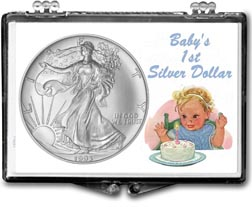 1993 Baby's First Silver Dollar, American Silver Eagle Gift Display THUMBNAIL
