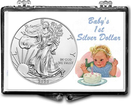 Baby's First Silver Dollar, American Silver Eagle Gift Display LARGE