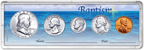 1958 Baptism Coin Gift Set LARGE