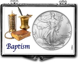 1990 Baptism American Silver Eagle Gift Display THUMBNAIL