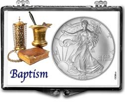 1995 Baptism American Silver Eagle Gift Display THUMBNAIL