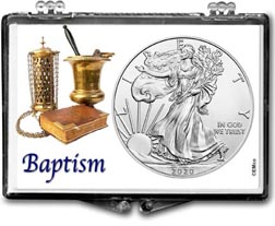 Baptism American Silver Eagle Gift Display THUMBNAIL