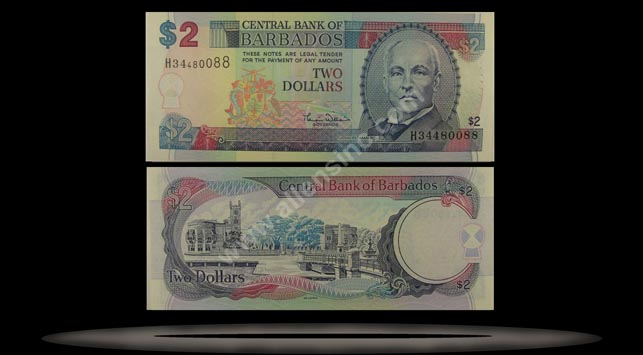 Barbados Banknote, 2 Dollars, ND (2000), P#60 MAIN