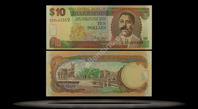 Barbados Banknote, 10 Dollars, ND (2000), P#62