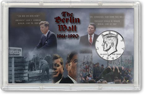 Berlin Wall Kennedy Half Dollar Display LARGE