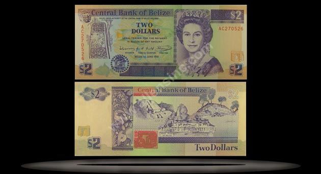 Belize Banknote, 2 Dollars, 1.5.1990, P#52a