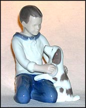 Boy and Pet, Bing & Grondahl Figurine #2334