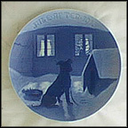 Chained Dog Getting Double Meal On Christmas Eve Collector Plate by Dahl Jensen