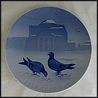Pigeons In The Castle Court Collector Plate by Achton Friis