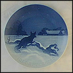Fox Outside Farm On Christmas Eve Collector Plate by Achton Friis