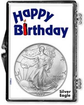 1990 Happy Birthday American Silver Eagle Gift Display THUMBNAIL