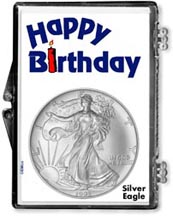 1995 Happy Birthday American Silver Eagle Gift Display THUMBNAIL
