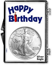 1996 Happy Birthday American Silver Eagle Gift Display THUMBNAIL